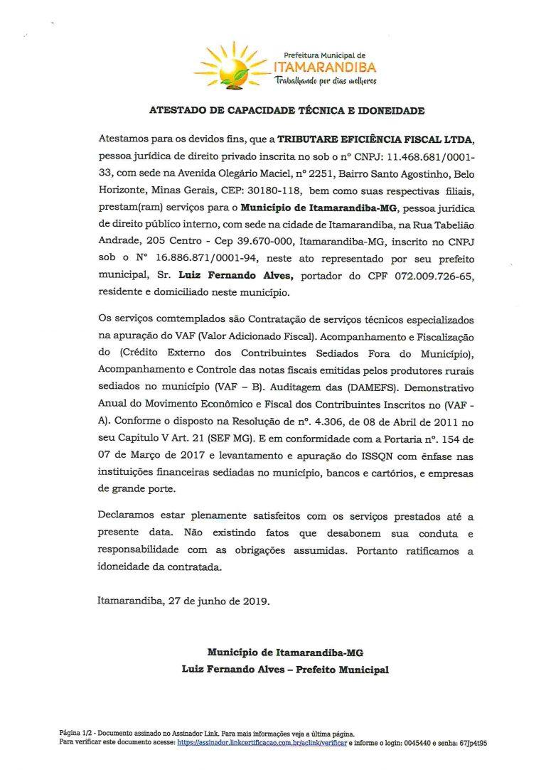 ITAMARANDIBA - ATESTADO VAF-1